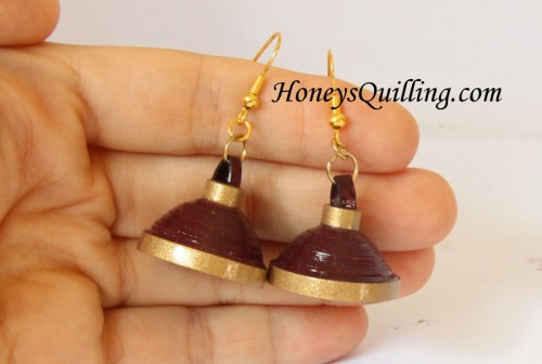 How to make Jhumka earrings with paper quilling - free pattern from Honey's Quilling
