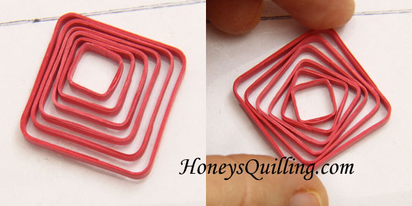 Square swirl earrings - free paper quilling tutorial from Honey's Quilling - using the Border Buddy tool