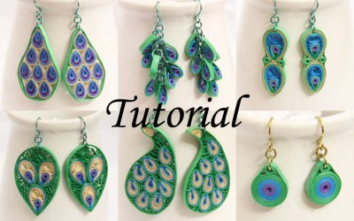 Peacock Design Paper Quilled Earrings Tutorial