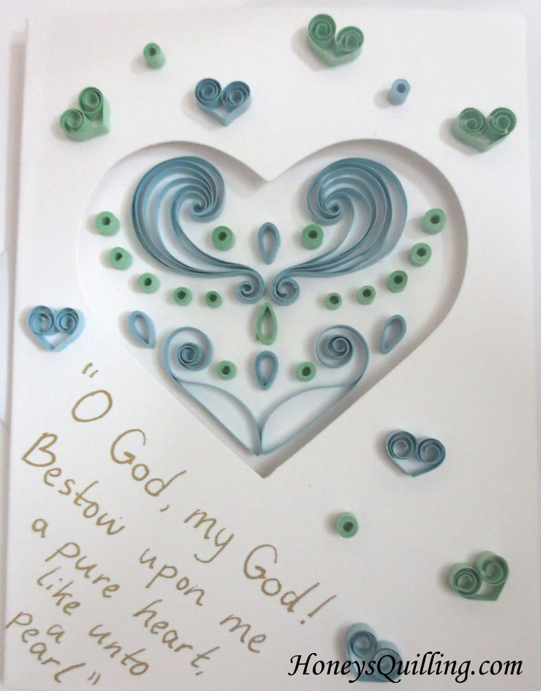 Paper quilled heart card for birth of baby - by Honey's Quilling