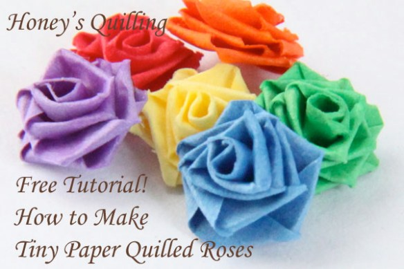 Learn how to make a TINY paper quilled rose - free tutorial from Honey's Quilling