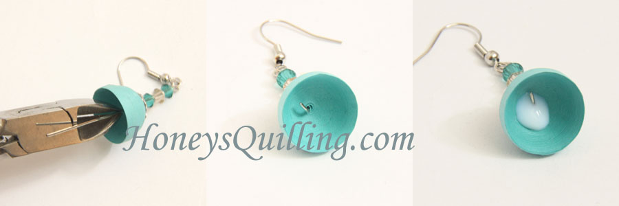 How to make paper quilled jhumka earrings with beads - a free tutorial from Honey's Quilling
