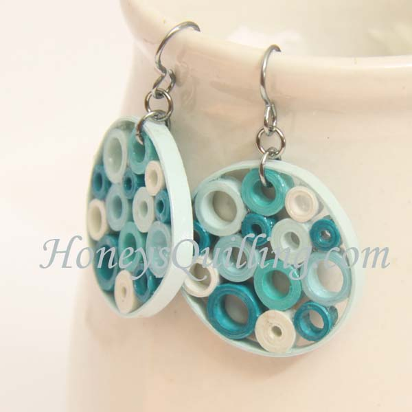 Aqua Bubbles Paper Quilled Earrings by Honey's  Quilling