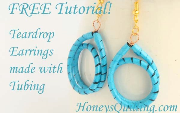 Paper Quilled Teardrop Earrings Made by Tubing – Free Tutorial