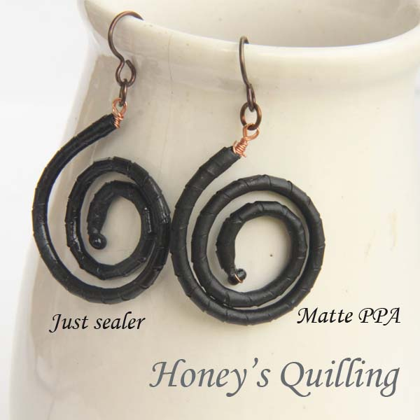 using PPA matte on your quilled jewelry so that it still looks like paper! - Honey's Quilling