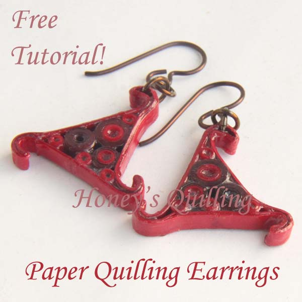 free tutorial - filled triangle whirl paper quilling earrings - Honey's Quilling