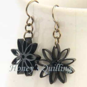 nine pointed star earrings - black