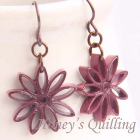 nine pointed star earrings - burgundy
