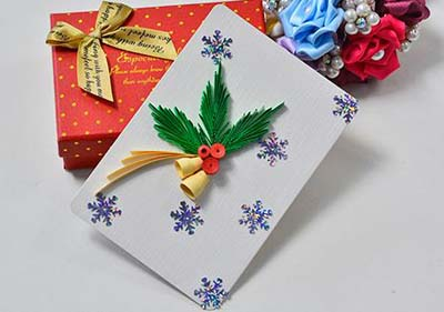 paper quilling christmas card bells