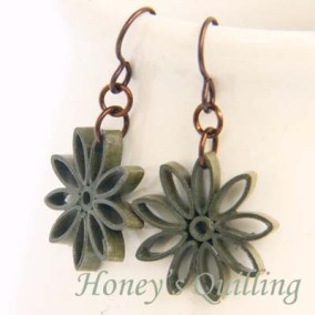 nine pointed star earrings - olive green