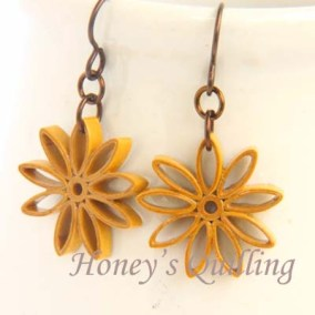 nine pointed star earrings - pumpkin spice