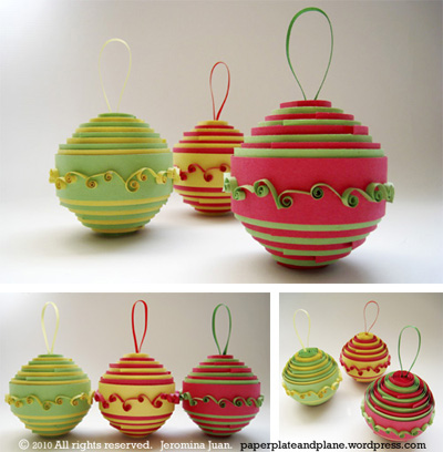rolled paper Christmas ball ornaments