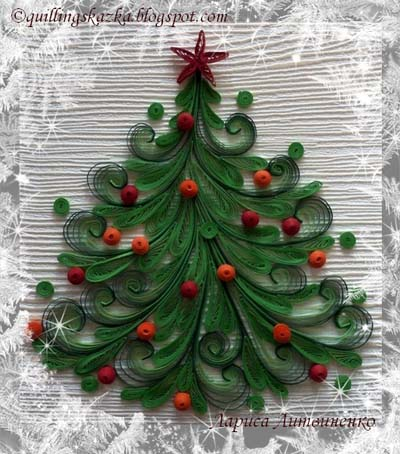paper quilling christmas tree card