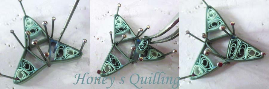 free tutorial - cosmic tri point paper quilling earrings - Honey's Quilling