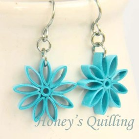 nine pointed star earrings - turquoise