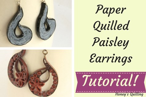 paper quilling paisley earrings with tutorial - Honey's Quilling