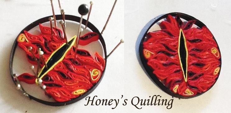 Handmade Eye of Sauron magnet - paper quilling - by Honey's Quilling