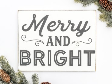 merry and bright wood sign