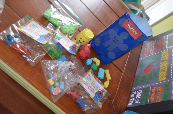Lego birthday party goody bags