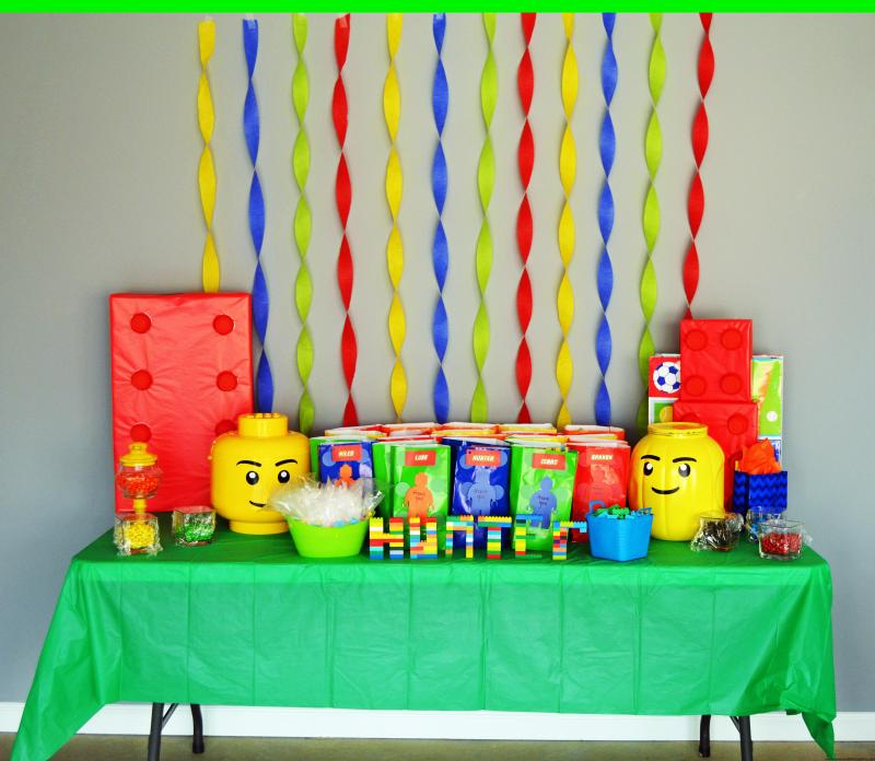 Lego Birthday Party Custom, Personalized, Minifigure, Bricks, Blocks,
