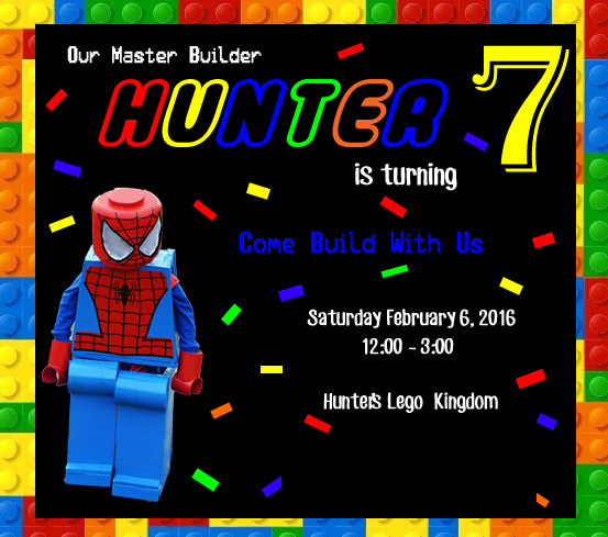 Custom personalized Lego Birthday Party Invites Invitations