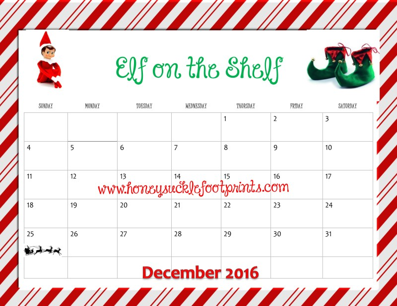 Elf on the Shelf Elf Calendar 2016 Idea Checklist