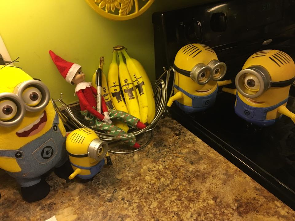 elf on the shelf ideas, Creative & unique elf ideas, minion banana's