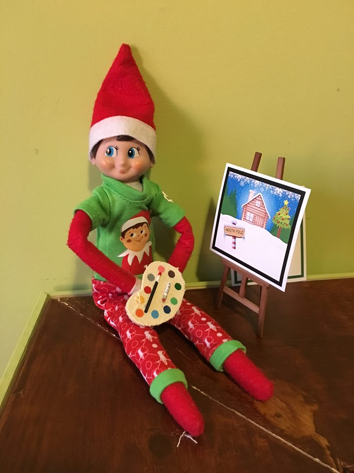 elf on the shelf ideas, Creative & unique elf ideas, Painting a picture
