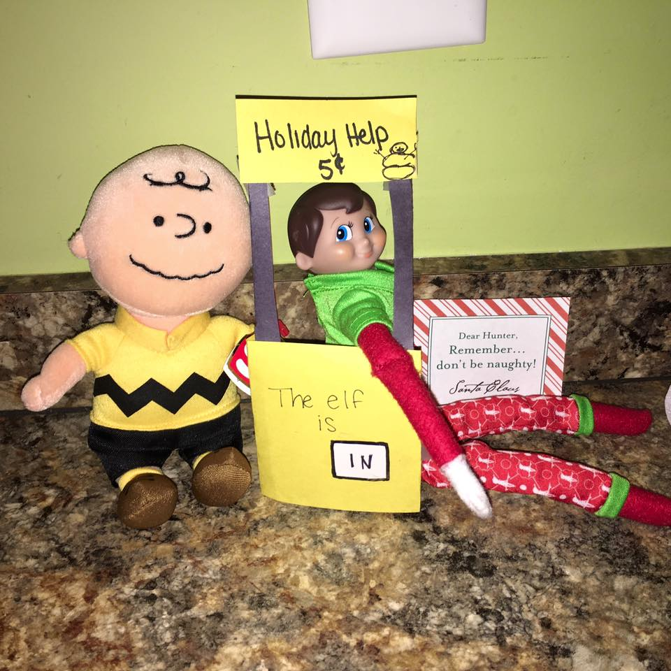elf on the shelf ideas, Creative & unique elf ideas, Charlie Brown Holiday Help Sign