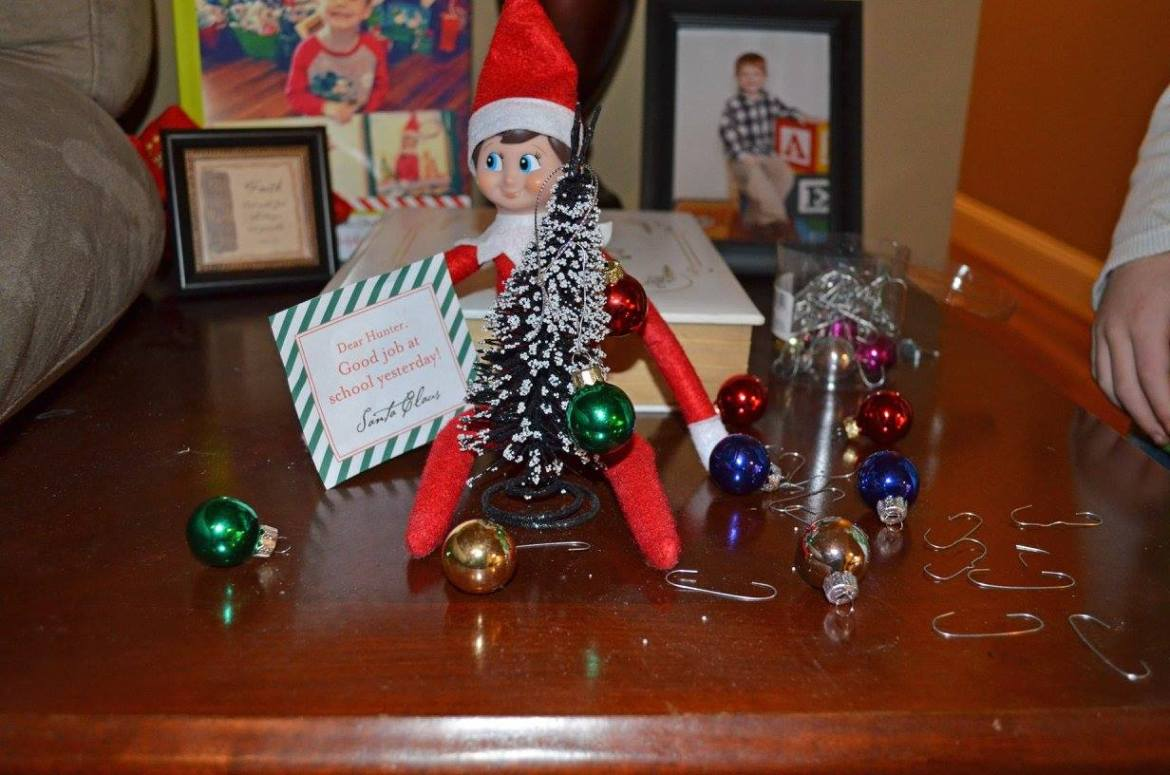 Unique Elf Ideas, creative, Elf on the Shelf, Decorating the Christmas Tree