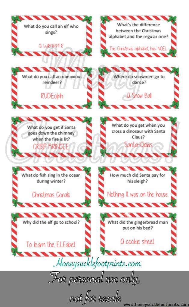 Free Printable Christmas Jokes for Elf on the Shelf - Honeysuckle ...