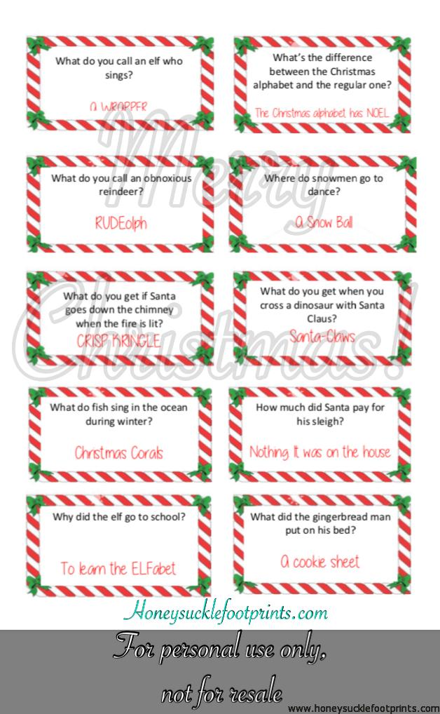 Free Printable Elf on the Shelf Christmas Jokes, Christmas Joke Cards