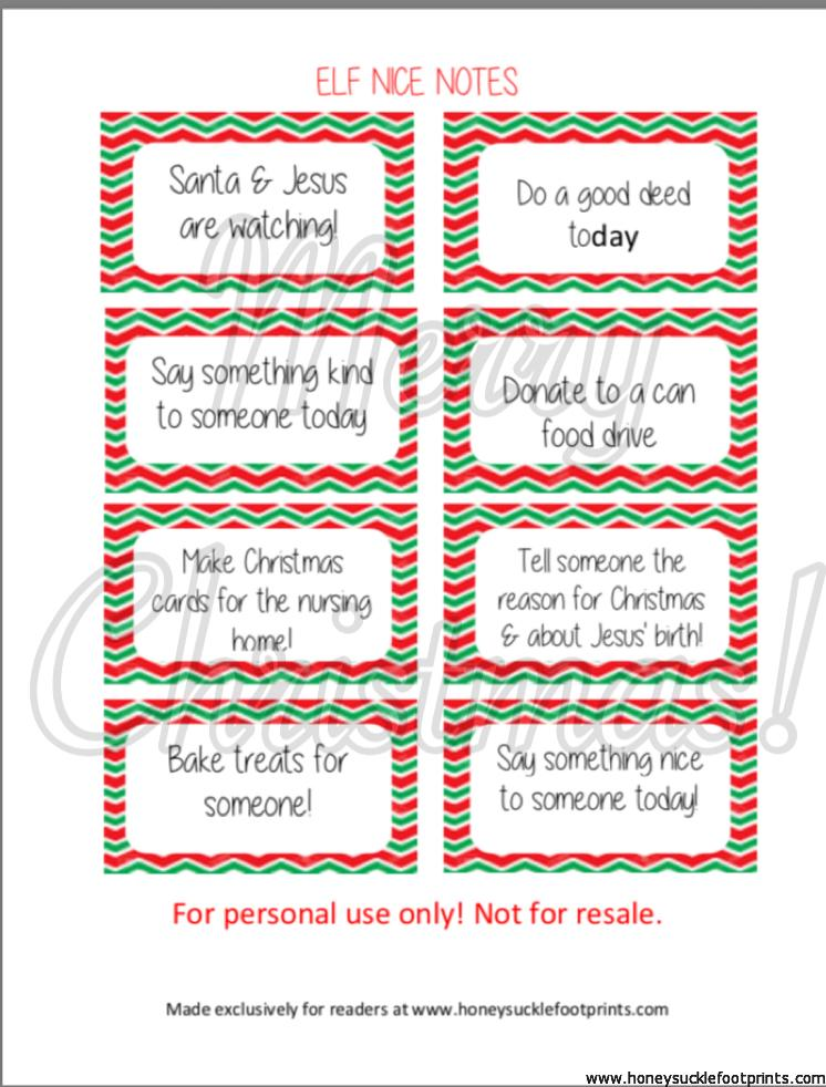 Elf on the Shelf Nice Notes, Nice Cards, Free Elf Printables