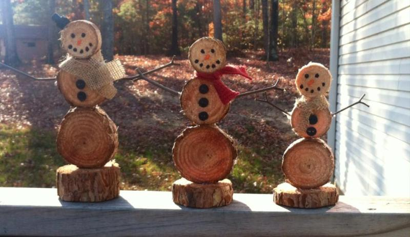Christmas Traditions - handmade wooden snowmen from pine tree