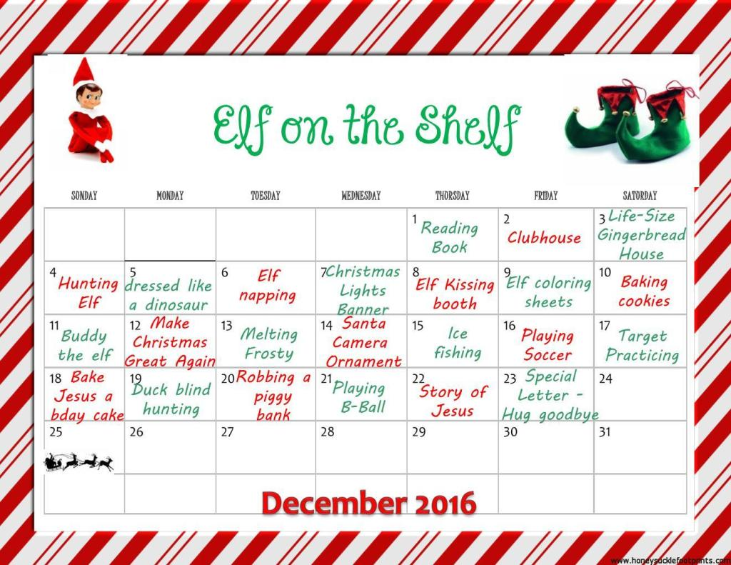 Elf on the Shelf December Calendar Ideas