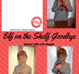 Elf on the Shelf Goodbye Letter Santa lifts his magic letter