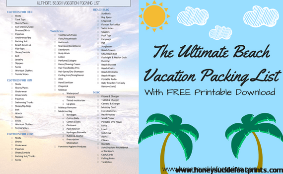 photograph regarding Free Printable Packing List named The Best Beach front Holiday Packing Record - Totally free PRINTABLE