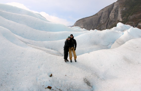 Crampons and harnesses for Big Ice hike