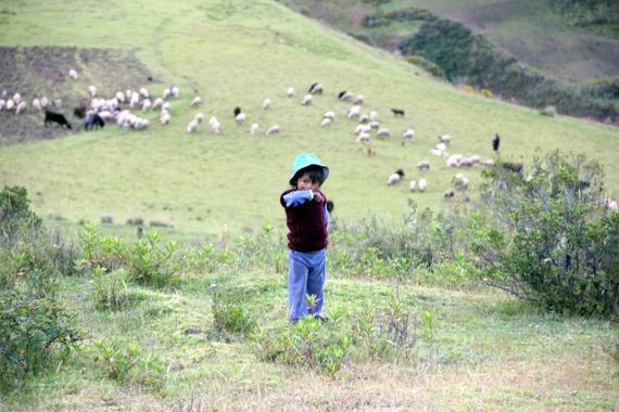 Young peruvian boy on mountainside.