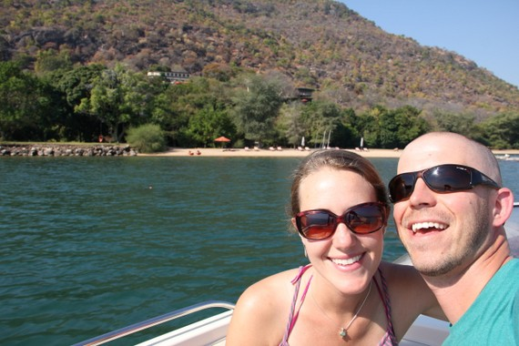 Our boat ride on Lake Malawi with Pumulani in the distance