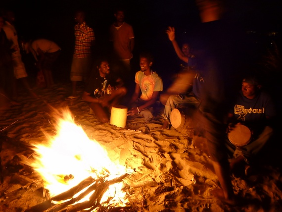 Drum circle full moon party Lamu Kenya