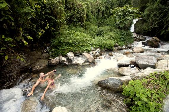 Dip in a mountain stream off Annapurna