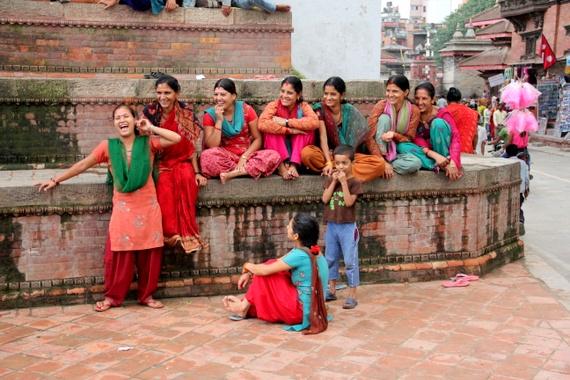 Nepalese women laughing in Kathmandu