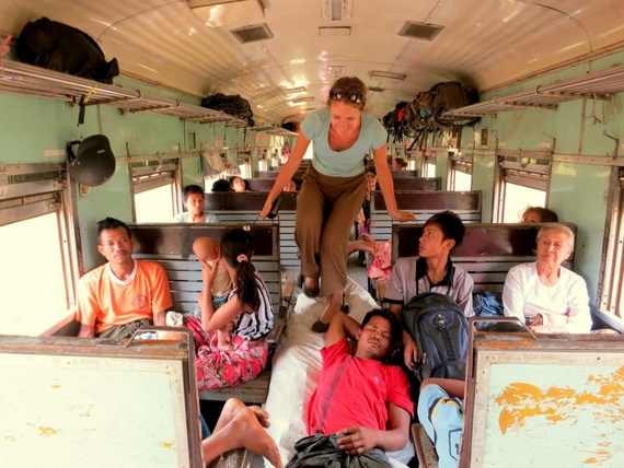 Riding the train in Myanmar