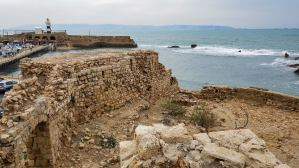 The old city walls along the Mediterranean Sea