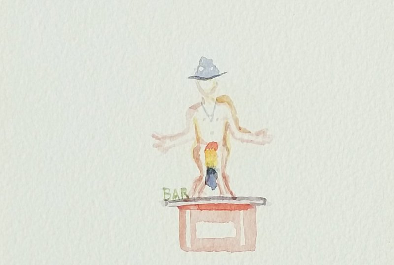 Burning Man watercolor