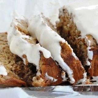 Spiced Rum Banana Nut Bread with Coconut Rum Cream Cheese Glaze (healthy)