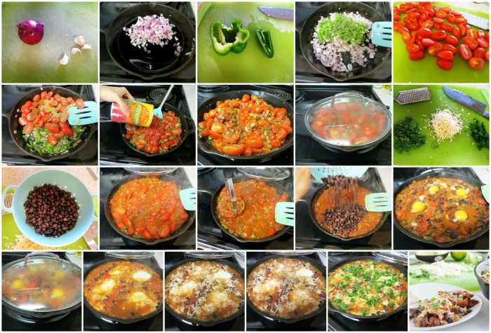 Black Bean Mexican Skillet Eggs step by step