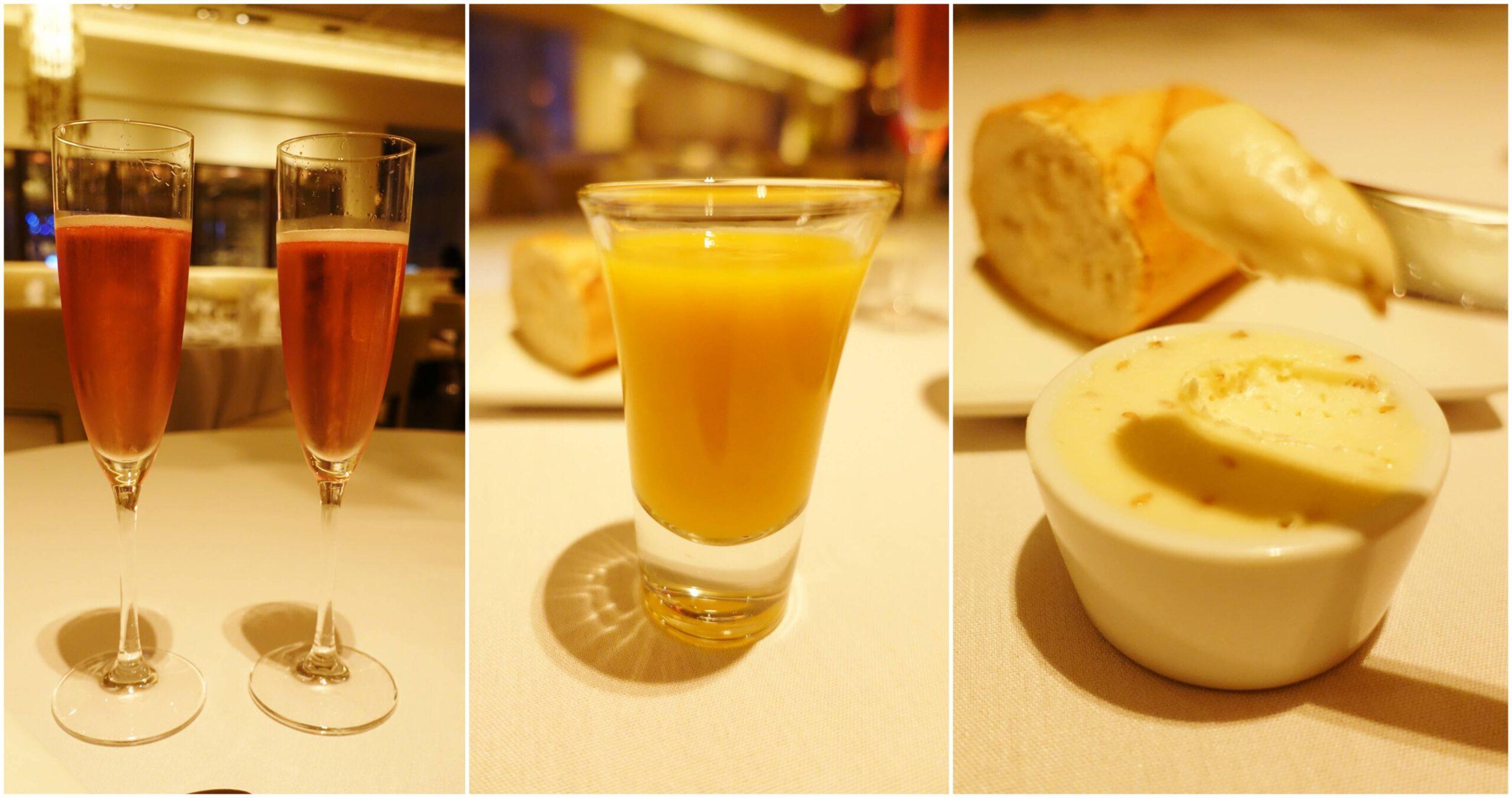 Champagne, Gazpacho, Bread & Butter