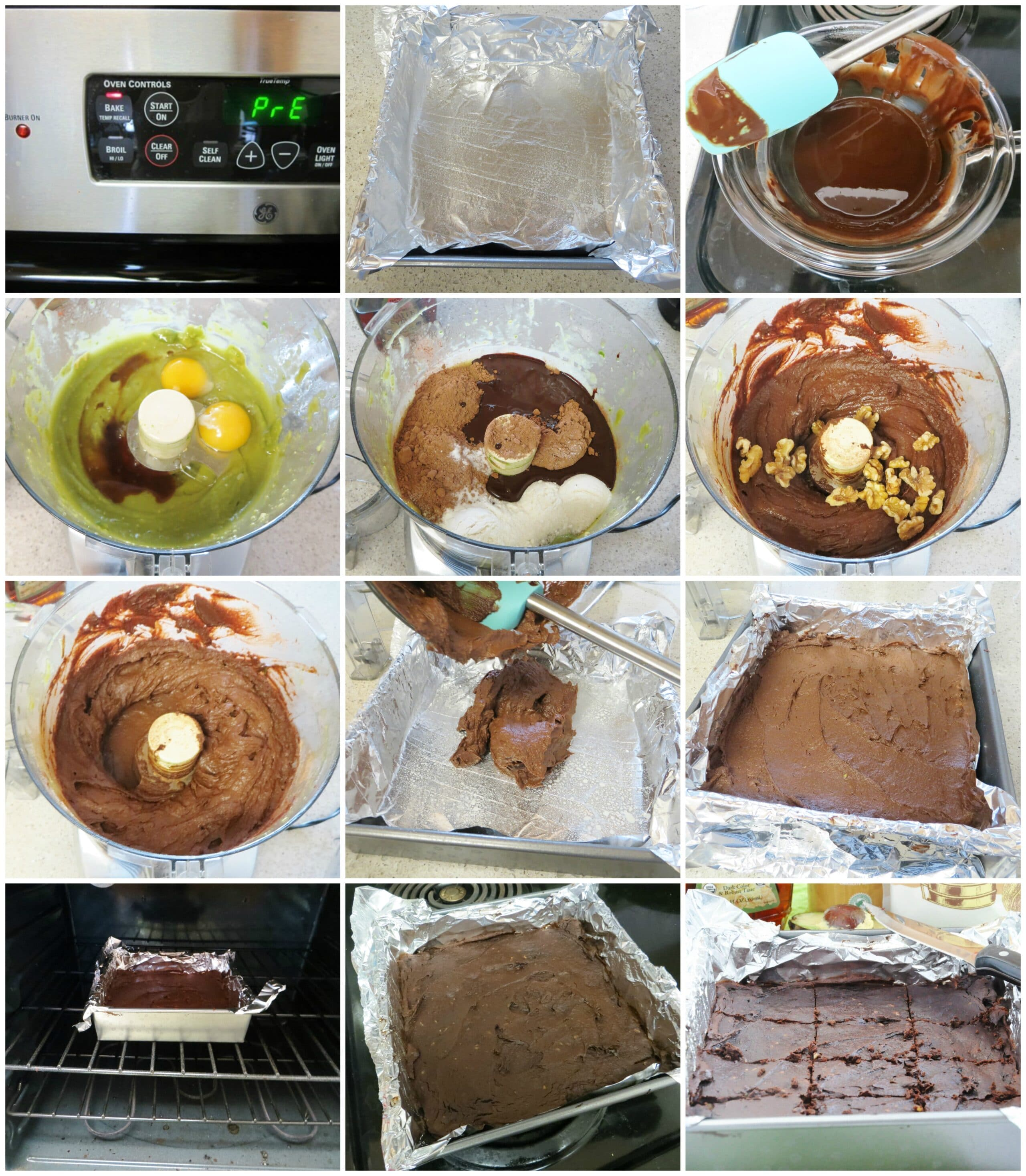 Avocado Walnut Brownies step by step
